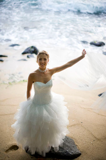 The bride on the beach