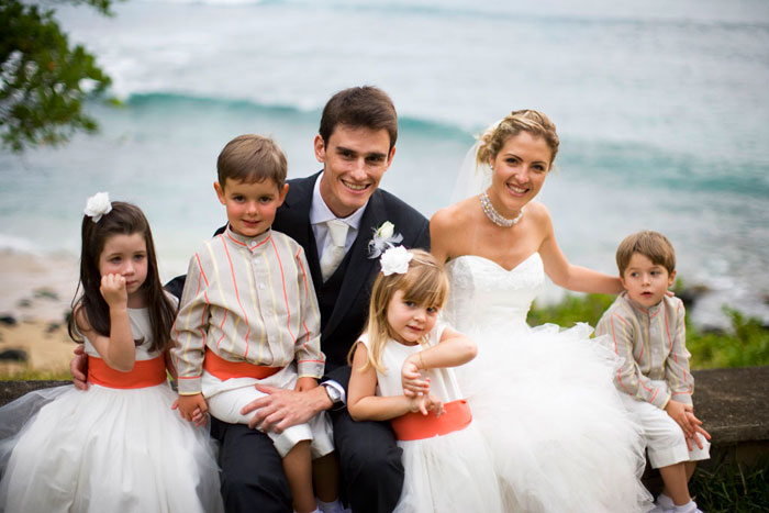 Groom and bride with kids