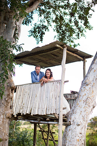 bride and groom in hut