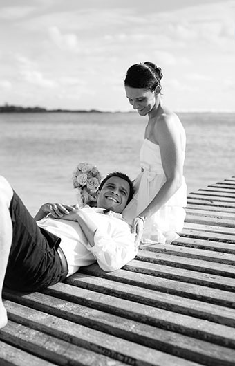 bride and groom relax